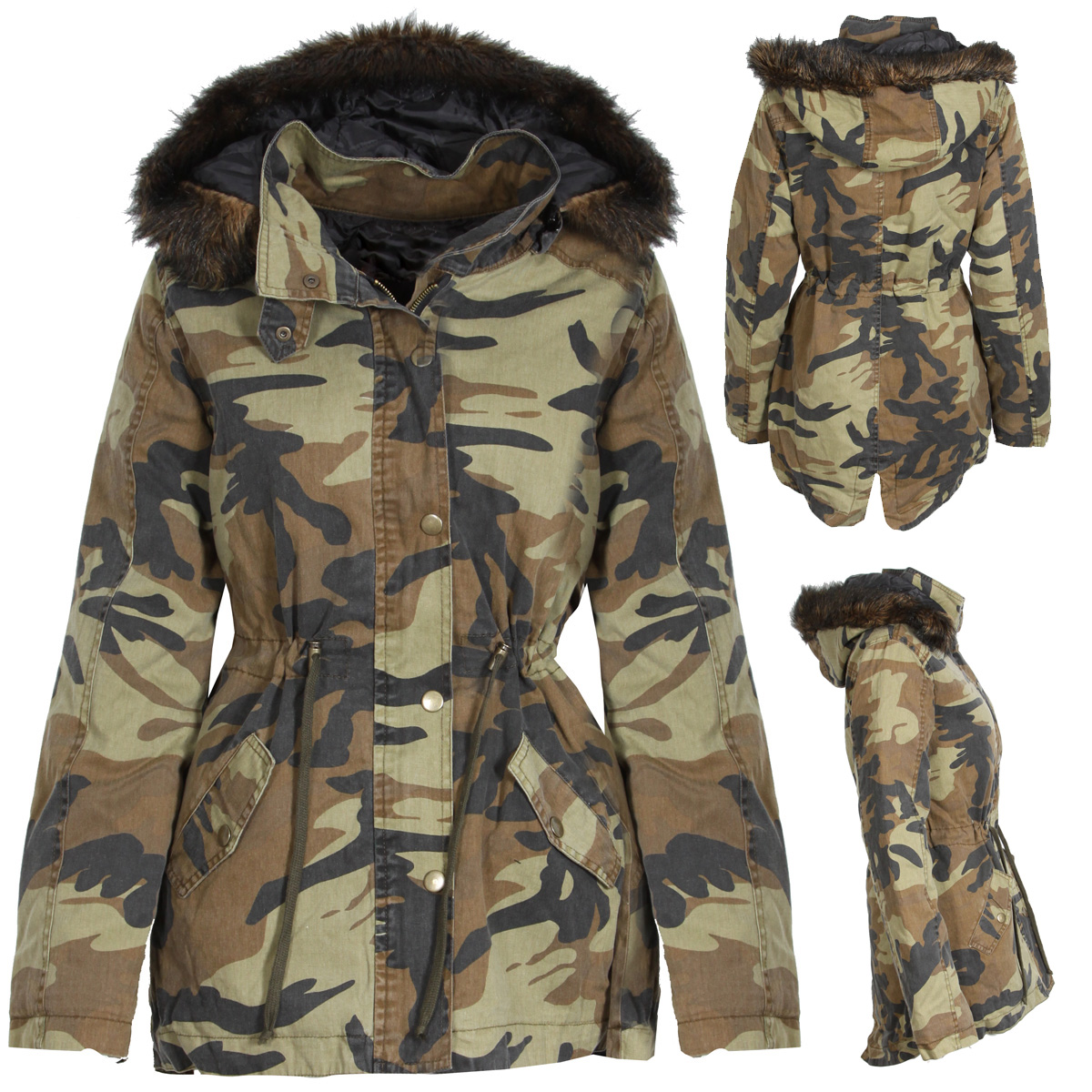 NEW WOMENS CAMO CAMOUFLAGE PARKA WINTER COAT JACKET FUR TRIM HOOD ...