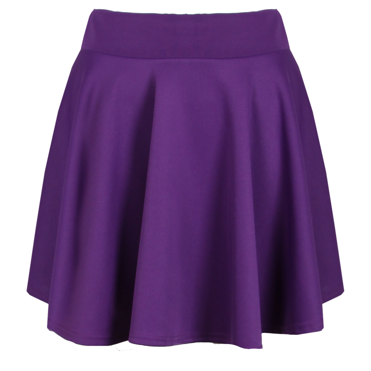 new womens purple scuba skater flared mini box skirt