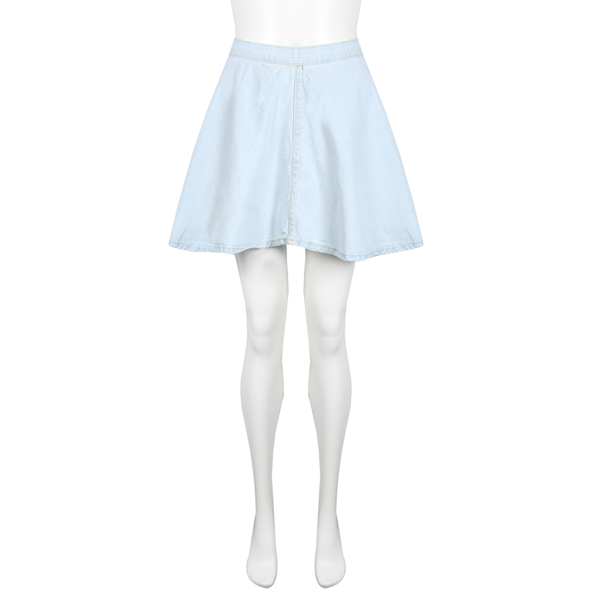 new womens light blue wash denim skater skirt mini