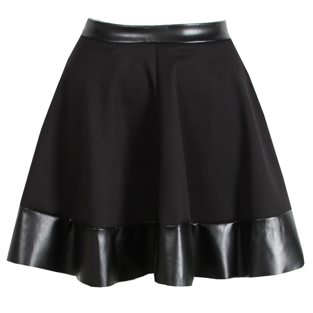 NEW WOMENS BLACK PU LEATHER TRIM SKATER SKIRT MINI PARTY HIGH WAISTED BOX Enlarged Preview