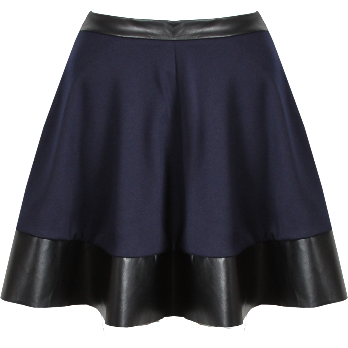 new womens navy blue pu leather trim skater skirt mini