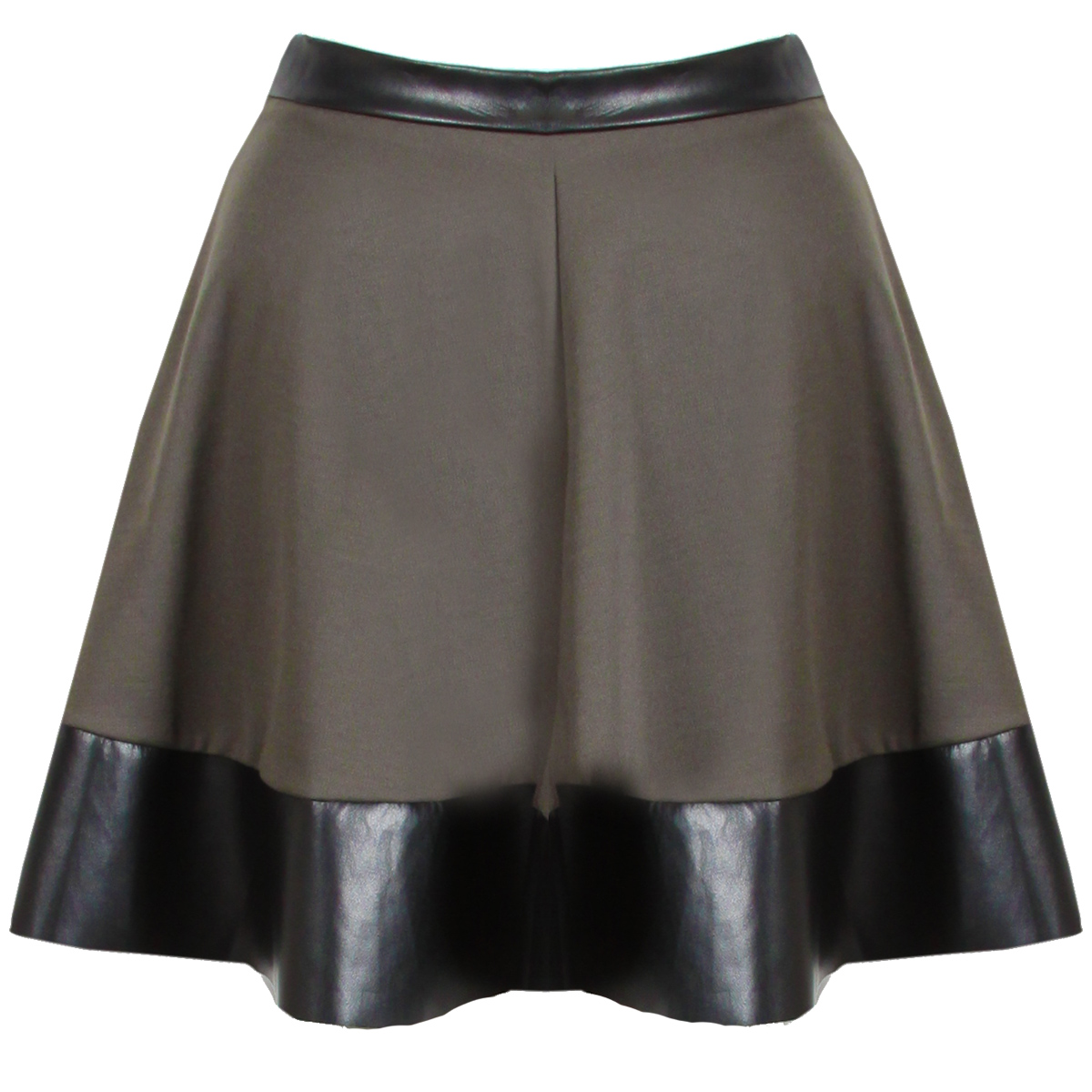new womens khaki green pu leather trim skater skirt mini
