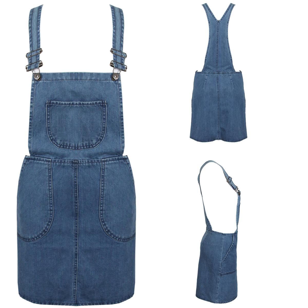 NEW-WOMENS-BLUE-SHIFT-DENIM-PINI-DRESS-BUCKLE-LADIES-DUNGAREE-SIZE-8-10-12-14