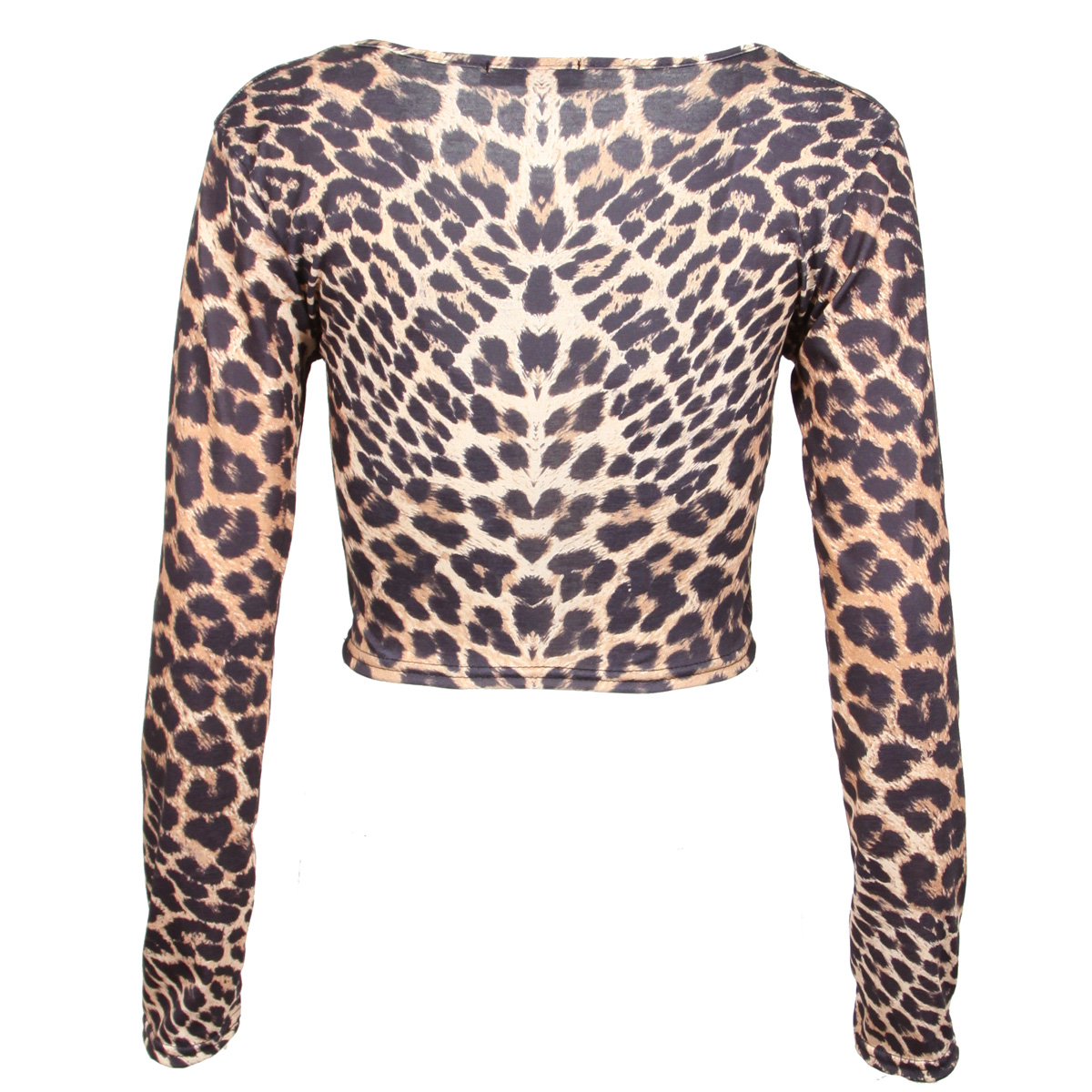 ... WOMENS LEOPARD ANIMAL PRINT CROP CROPPED TOP LONG SLEEVE CREW NECK