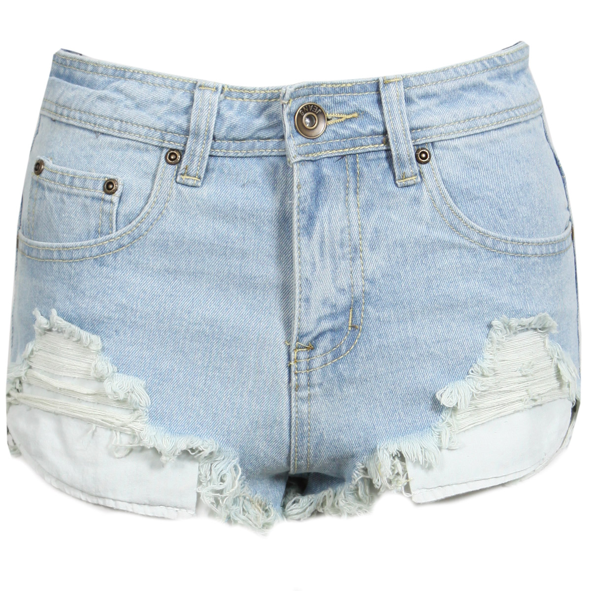 NEW WOMENS LIGHT BLUE DENIM DISTRESSED SHORTS HOT PANTS FRAYED HEM LADIES 6-14 Enlarged Preview