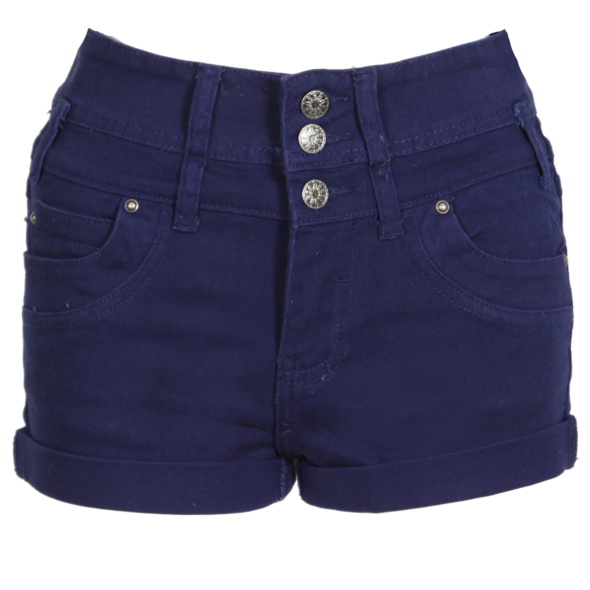 NEW WOMENS NAVY BLUE DENIM SHORTS HIGH WAIST HOT PANTS HOTPANTS LADIES CASUAL Enlarged Preview