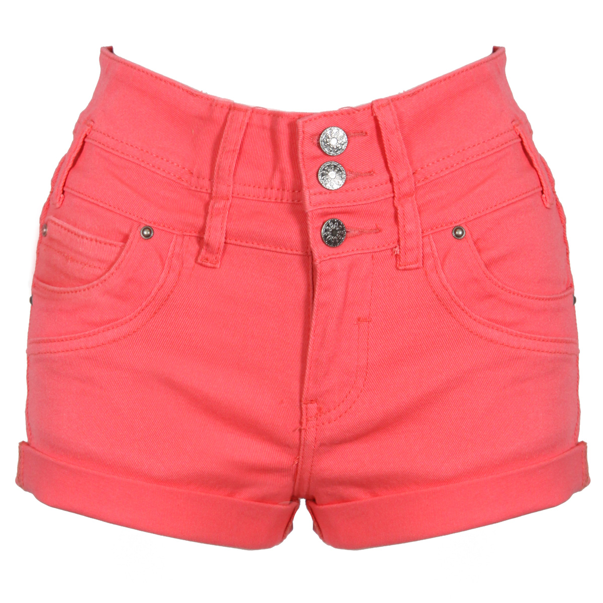 NEW WOMENS CORAL PINK DENIM SHORTS HIGH WAIST HOT PANTS HOTPANTS LADIES CASUAL Enlarged Preview