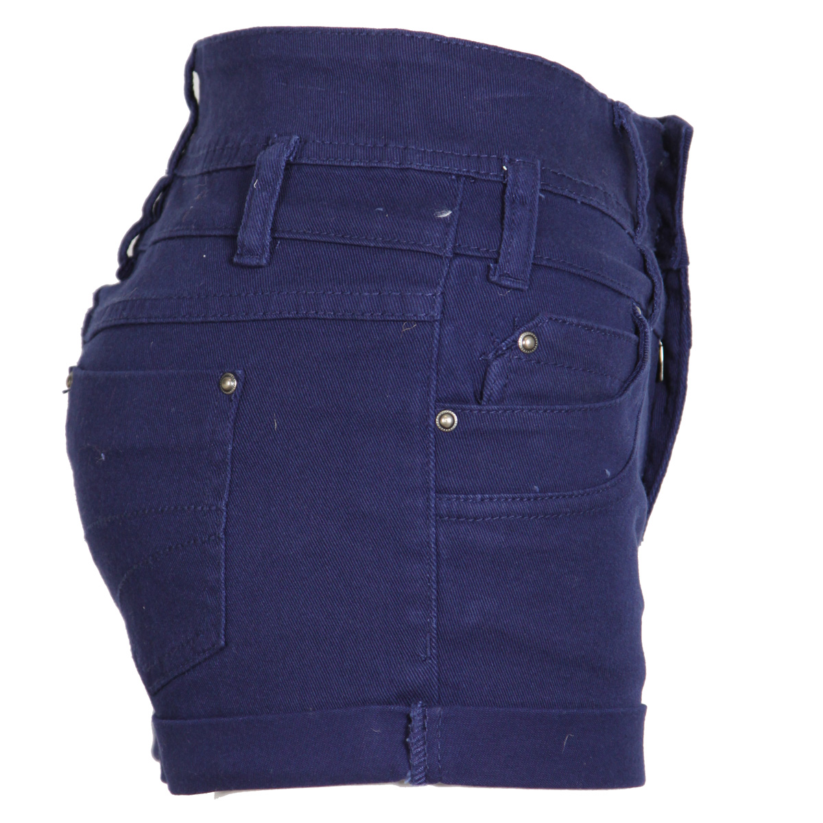NEW-WOMENS-NAVY-BLUE-DENIM-SHORTS-HIGH-WAIST-HOT-PANTS-HOTPANTS-LADIES-CASUAL