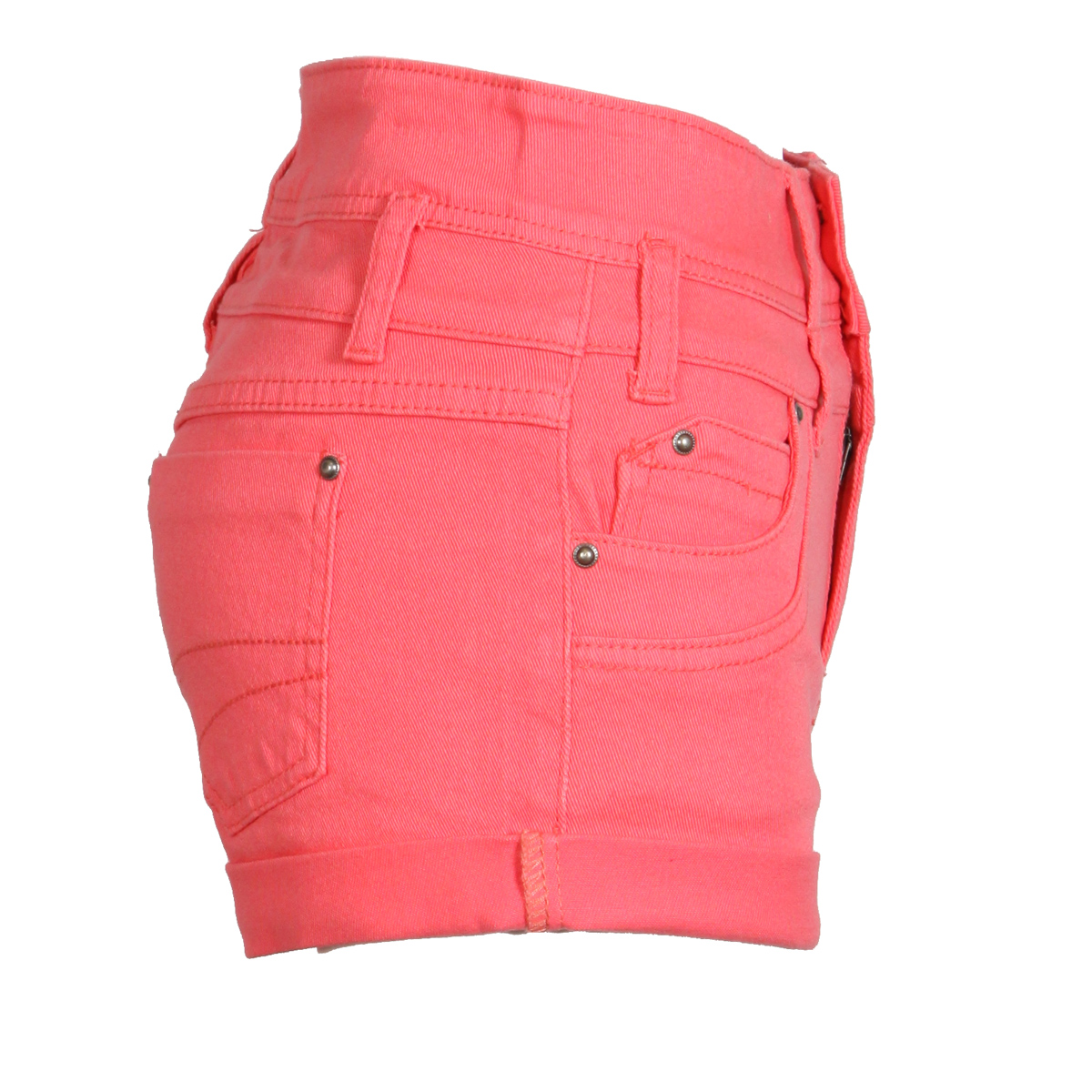 NEW-WOMENS-CORAL-PINK-DENIM-SHORTS-HIGH-WAIST-HOT-PANTS-HOTPANTS-LADIES-CASUAL