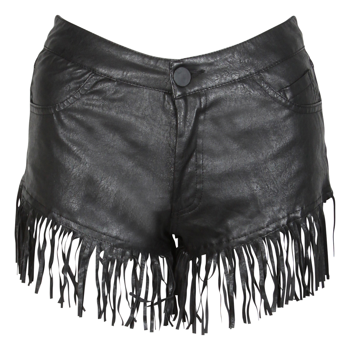 NEW WOMENS BLACK PU LEATHER TASSEL FRINGE SHORTS HOTPANTS LADIES ...