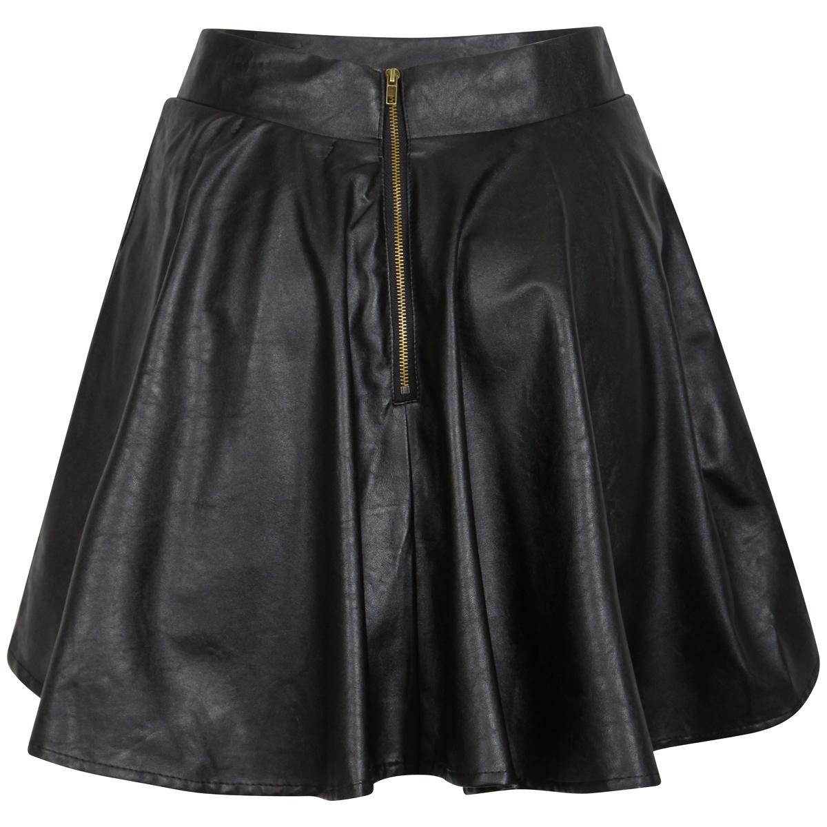 new womens black pu faux leather skater skirt pleat mini