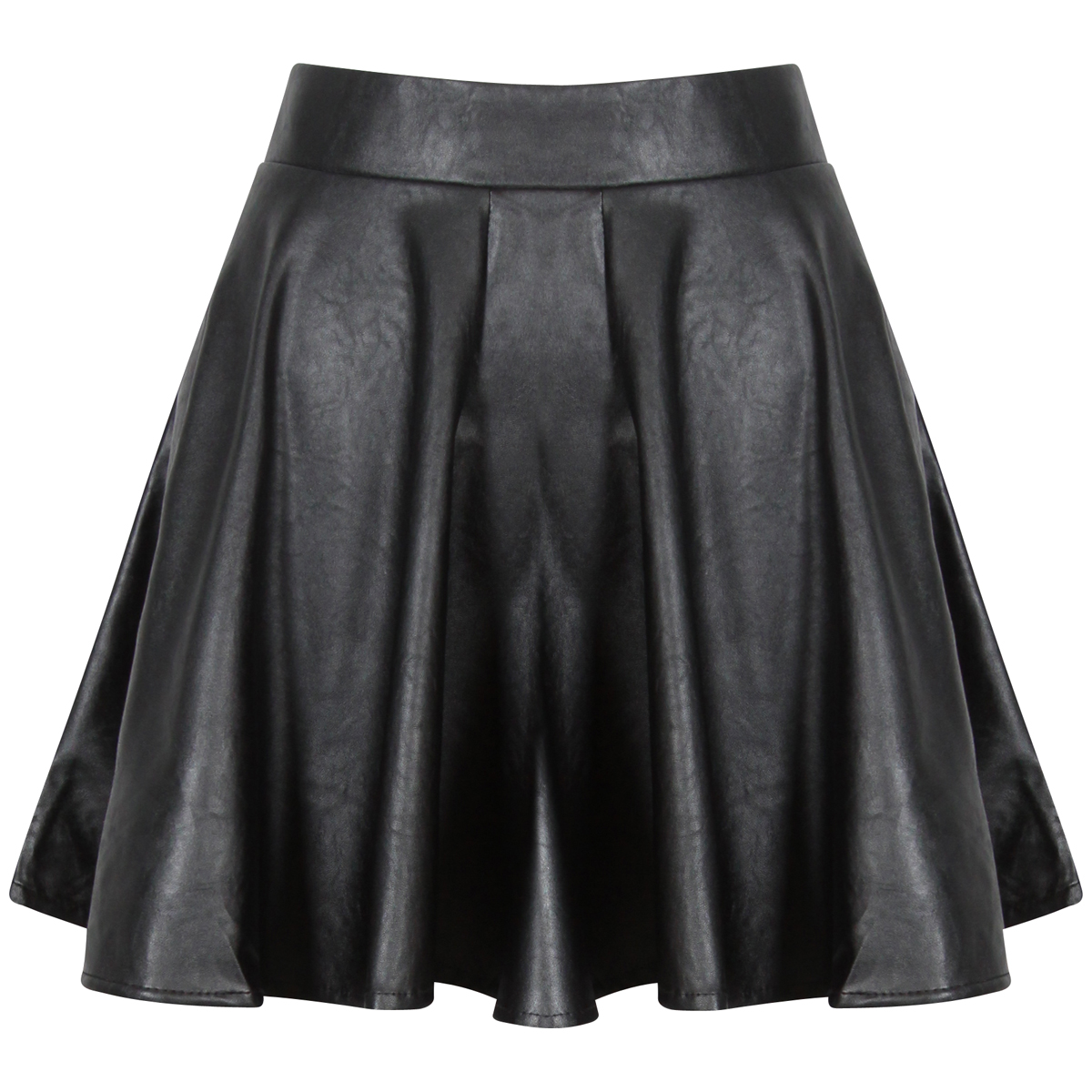 new womens black pu faux leather skater skirt pleat mini