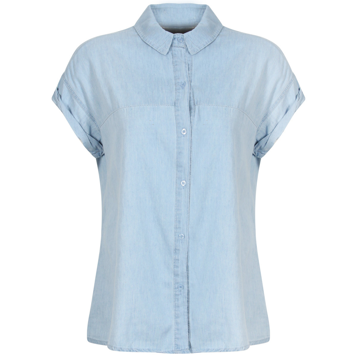 New womens light blue denim shirt button up short cap for Blue denim shirt for womens