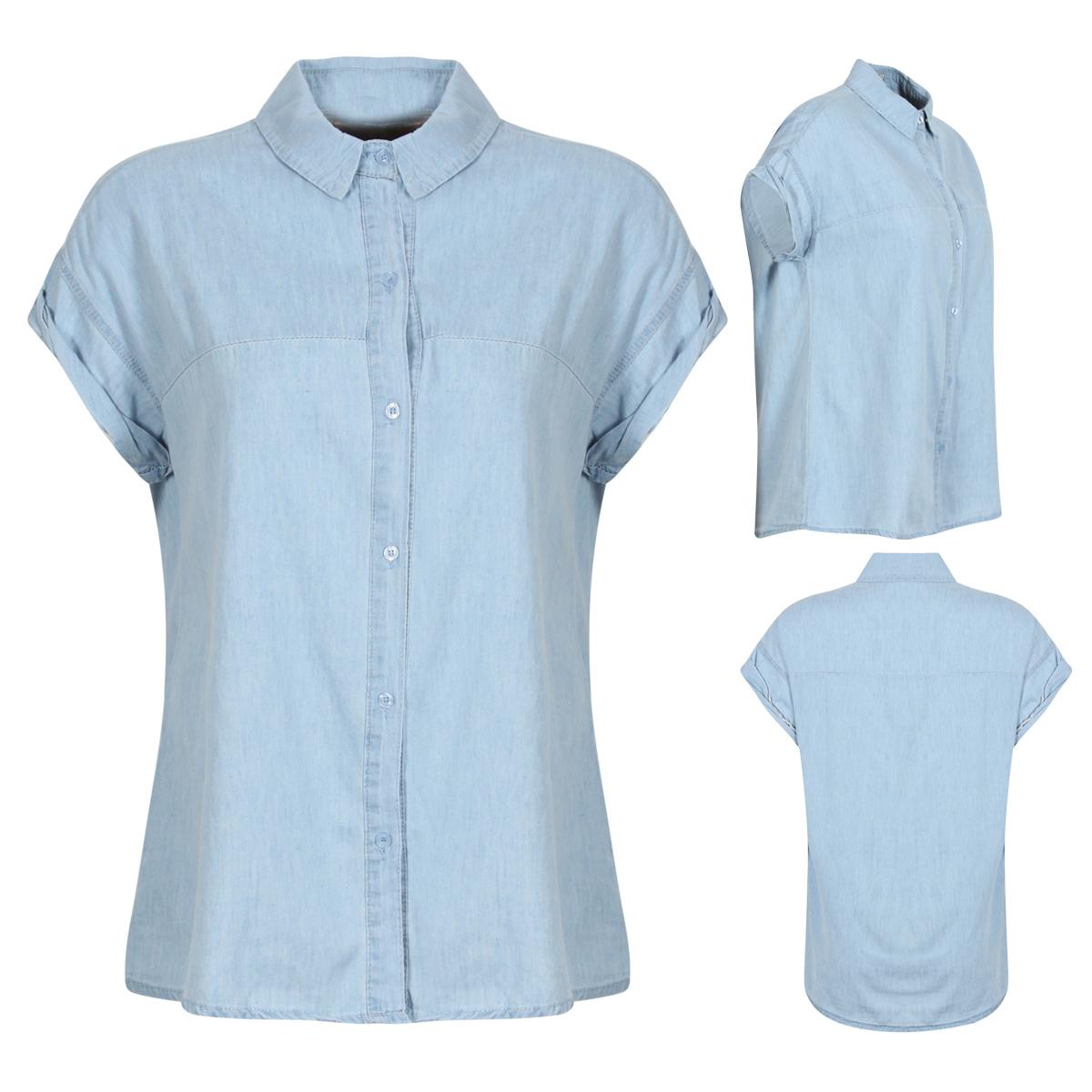 New Womens Light Blue Denim Shirt Button Up Short Cap