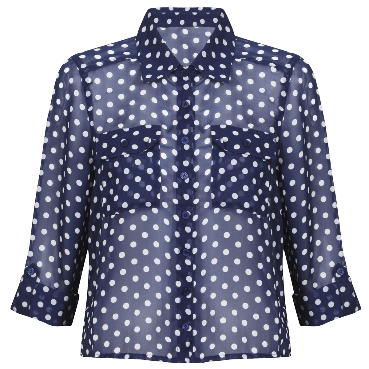 new womens navy blue polka dot hip hem blouse shirt top