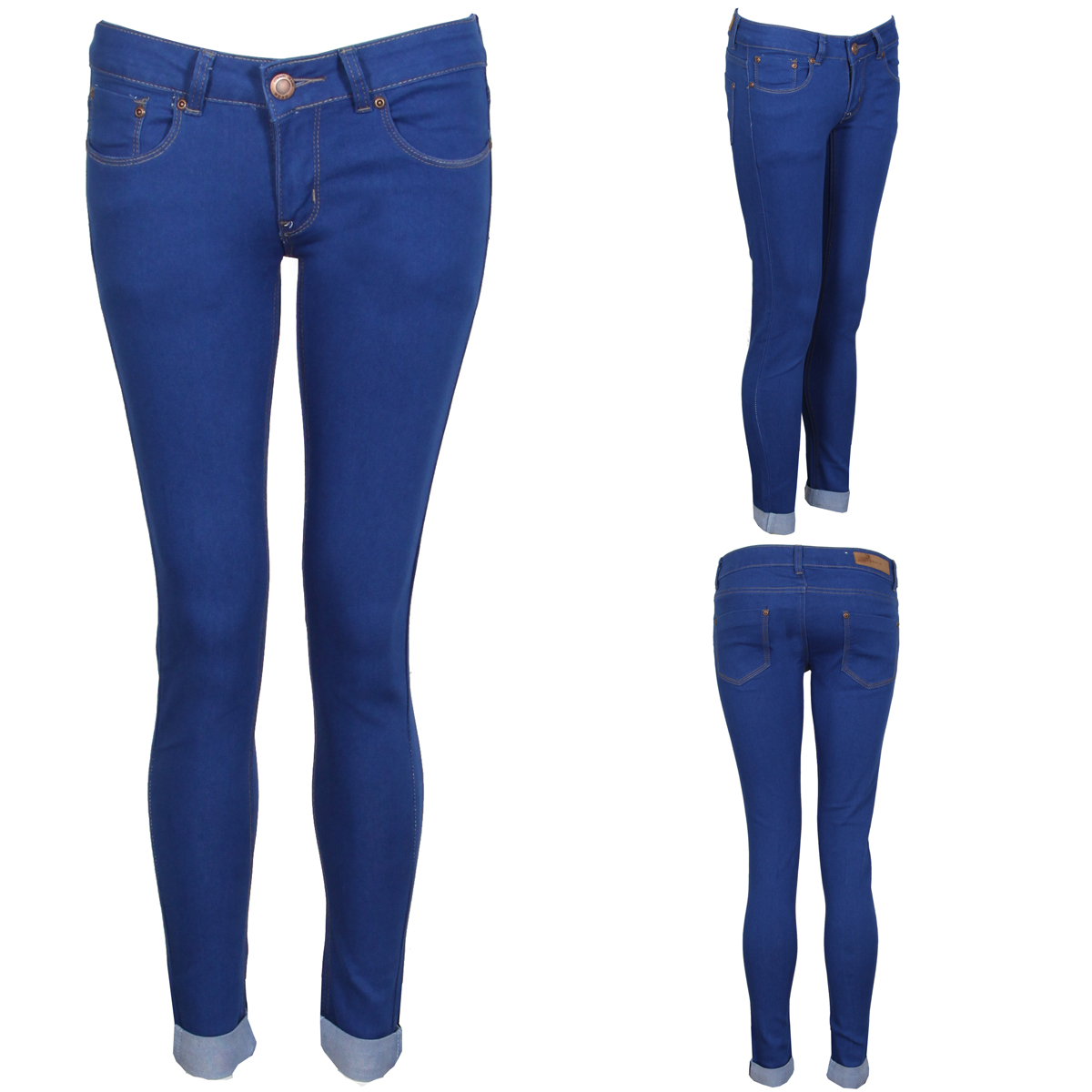 NEW WOMENS ROYAL BLUE SKINNY JEANS TURN UPS SLIM COLOURED LADIES 6 ...