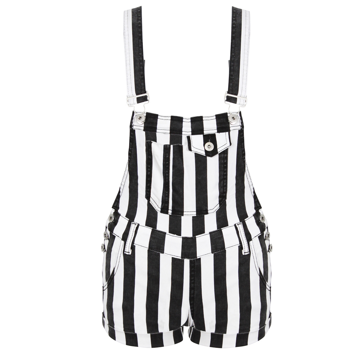 NEW WOMENS BLACK WHITE STRIPE DENIM DUNGAREE PLAYSUIT LADIES SHORTS 6 8 10 12 14 Enlarged Preview