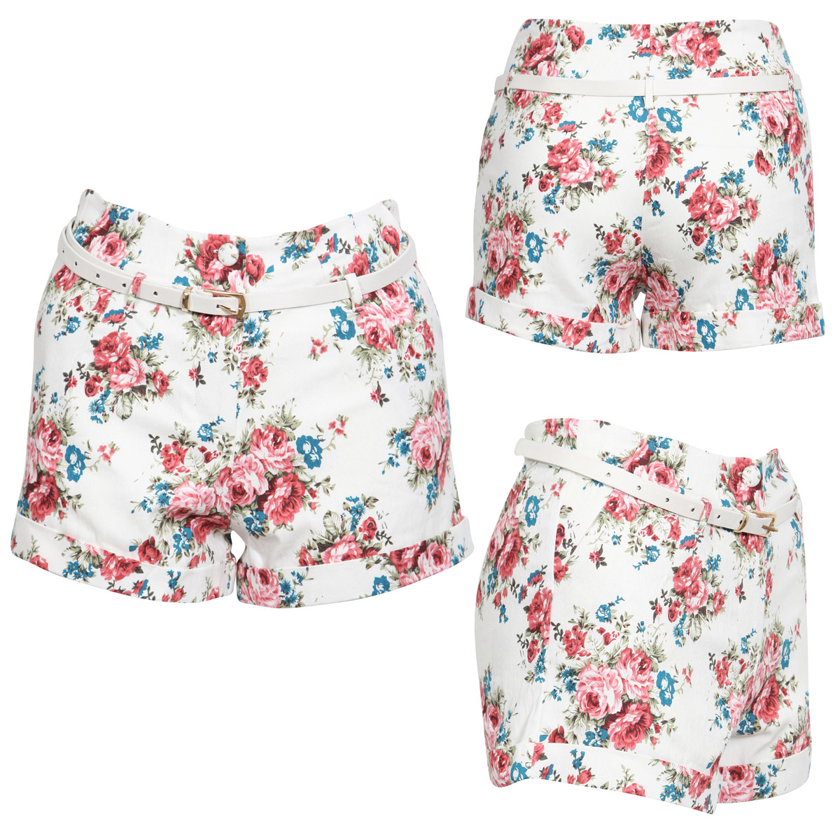 NEW WOMENS CREAM FLORAL WHITE BELTED HIGH WAIST DENIM SHORTS FLOWER LADIES S M L Enlarged Preview