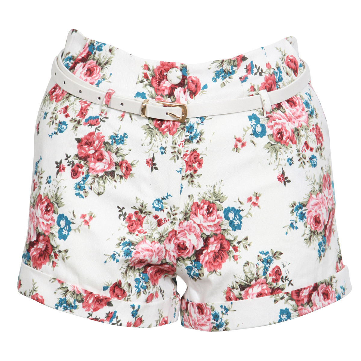 NEW-WOMENS-CREAM-FLORAL-WHITE-BELTED-HIGH-WAIST-DENIM-SHORTS-FLOWER-LADIES-S-M-L