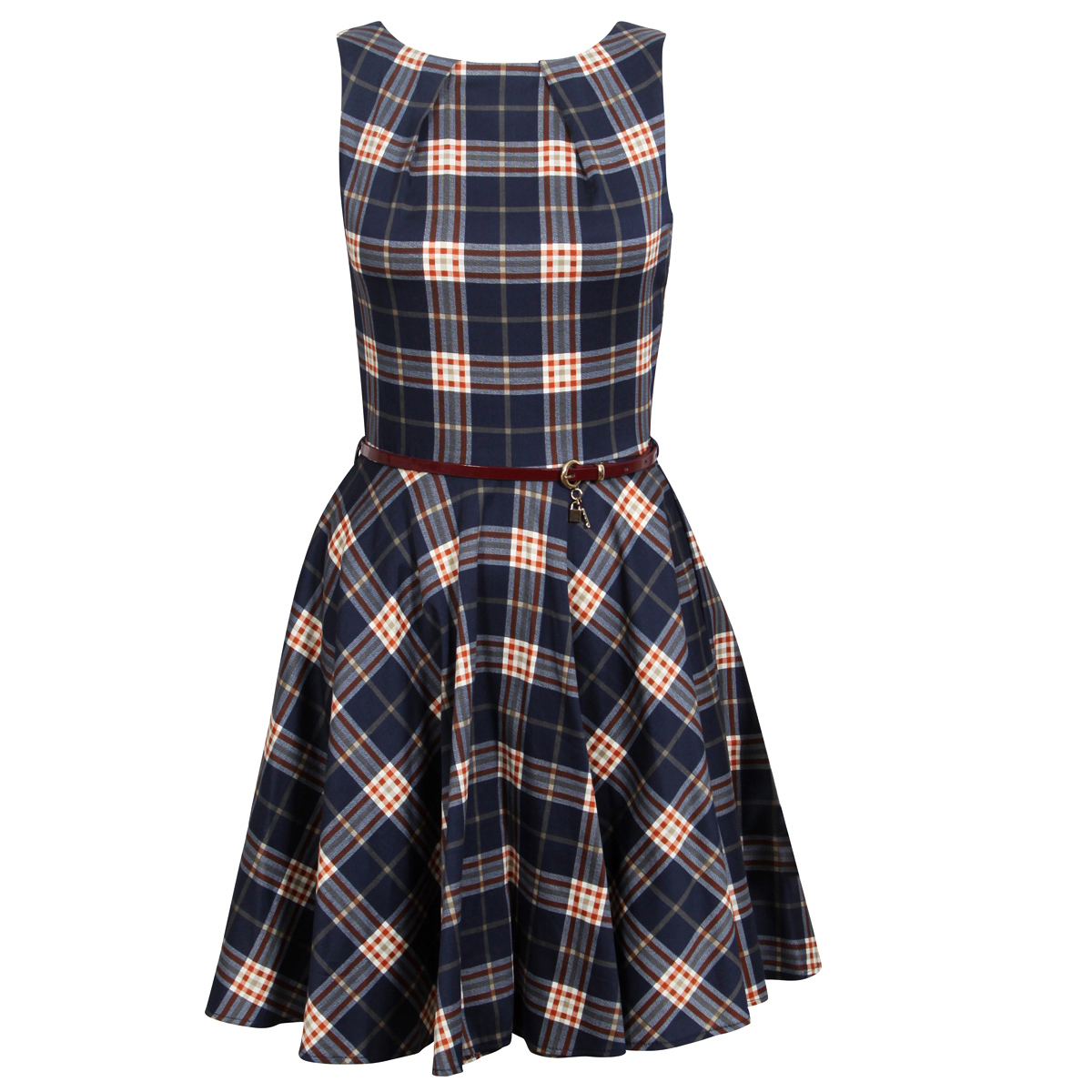 Blue Tartan Sleeveless Skater Dress Preview