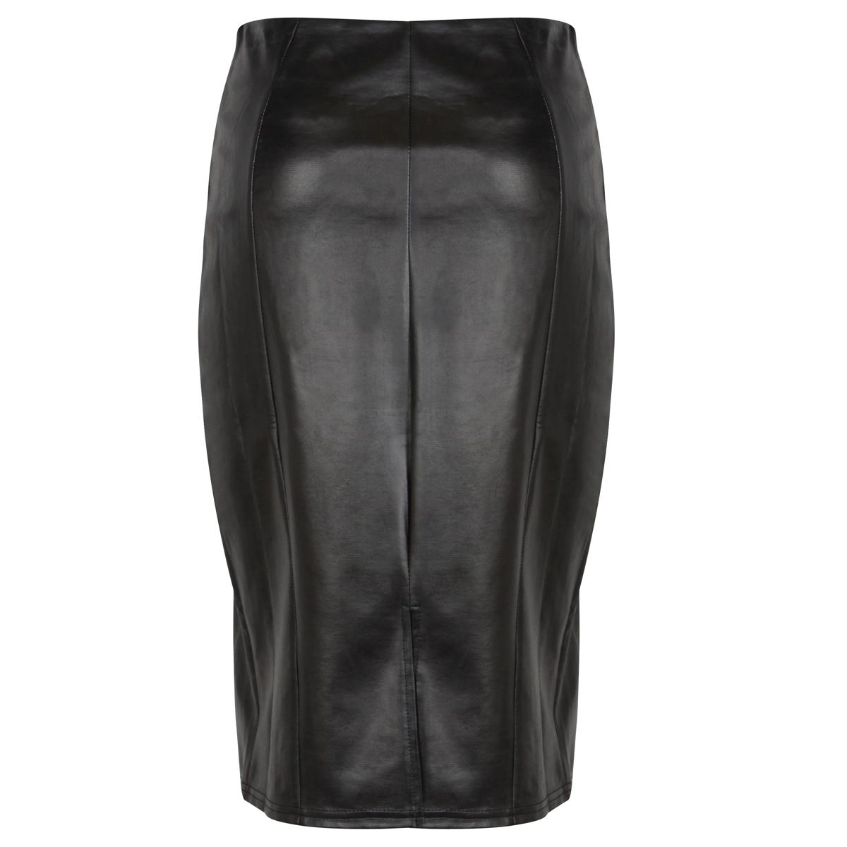 new womens black pu leather pleather pencil skirt midi