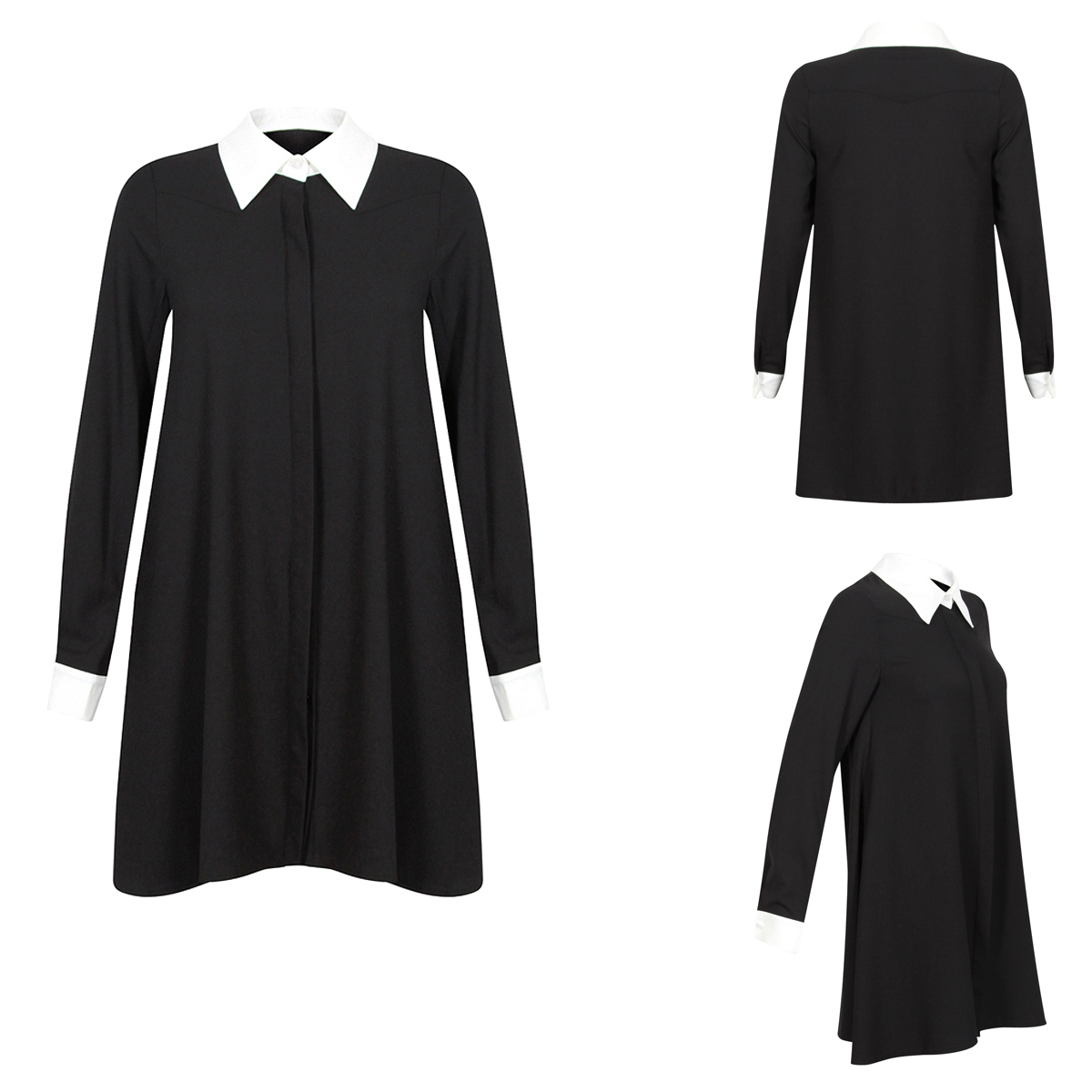Womens glamorous swing black white shirt collar shift dress size 8 14