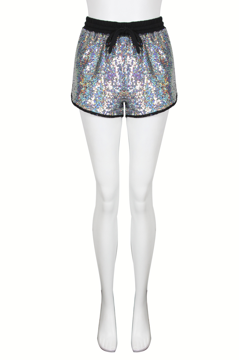 NEW WOMENS GLAMOROUS SILVER SEQUIN HOLOGRAM DRAWSTRING ...