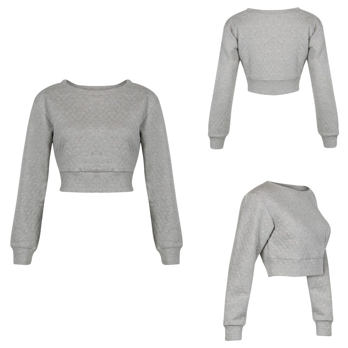 NEW WOMENS GLAMOROUS GREY QUILTED CROPPED SWEATSHIRT LADIES JUMPER TOP  Enlarged Preview