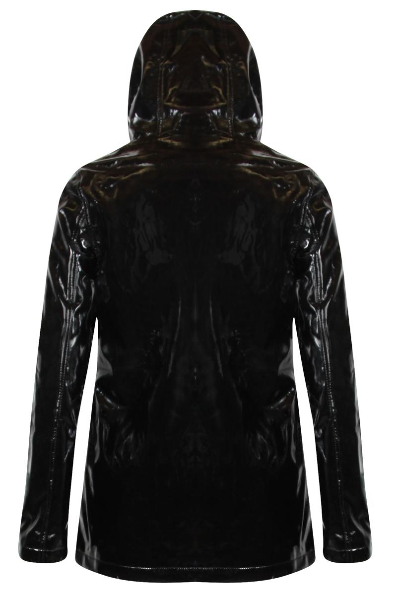 New Womens Glamorous Black Tartan Pvc Hooded Raincoat