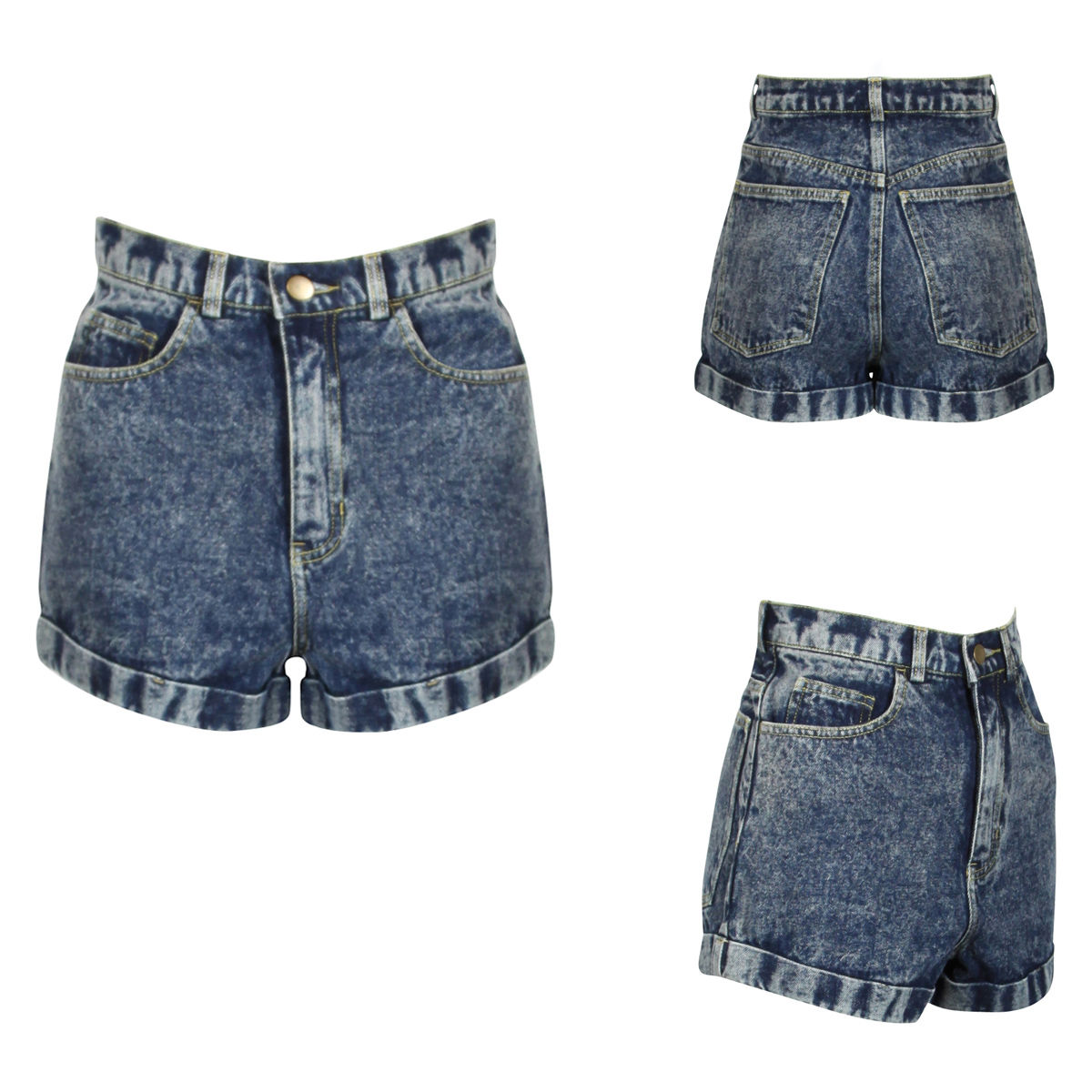 NEW WOMENS GLAMOROUS BLUE DENIM HIGHWAISTED ACID WASH DISTRESSED LADIES SHORTS Enlarged Preview