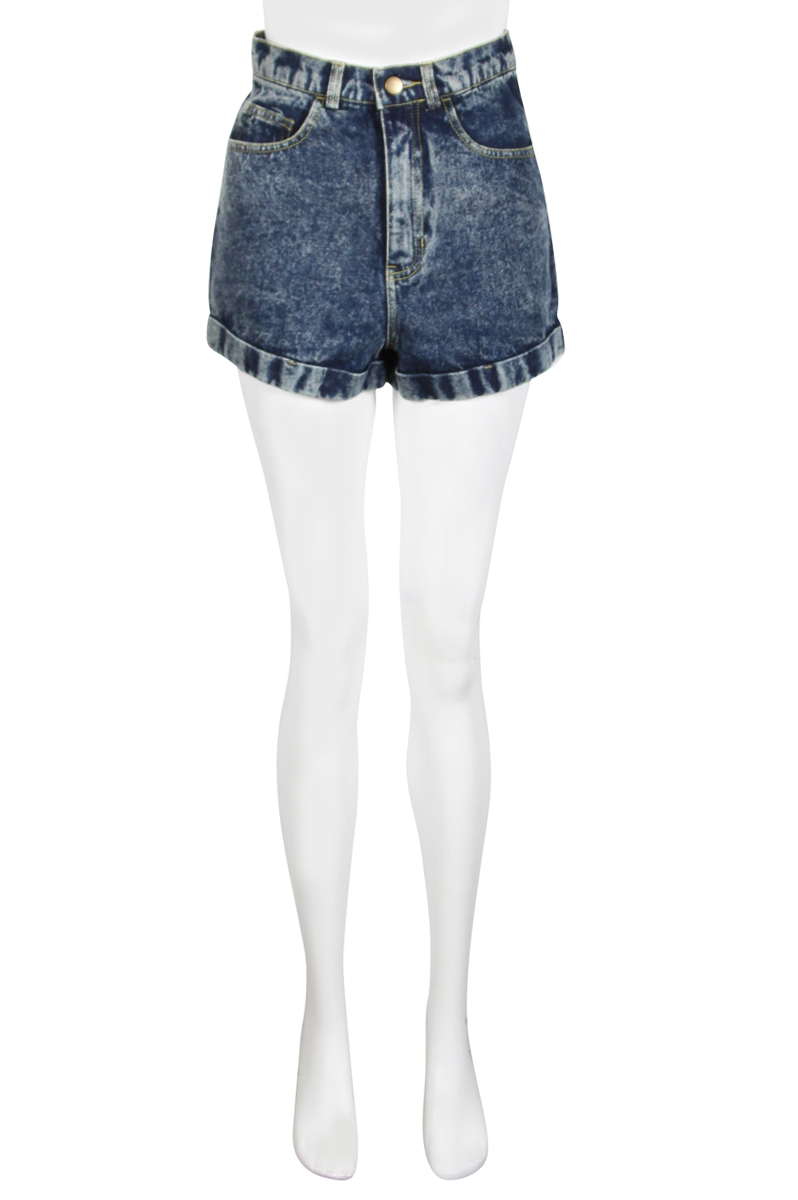 NEW-WOMENS-GLAMOROUS-BLUE-DENIM-HIGHWAISTED-ACID-WASH-DISTRESSED-LADIES-SHORTS