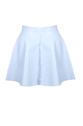 View Item Blue PU Skater Skirt