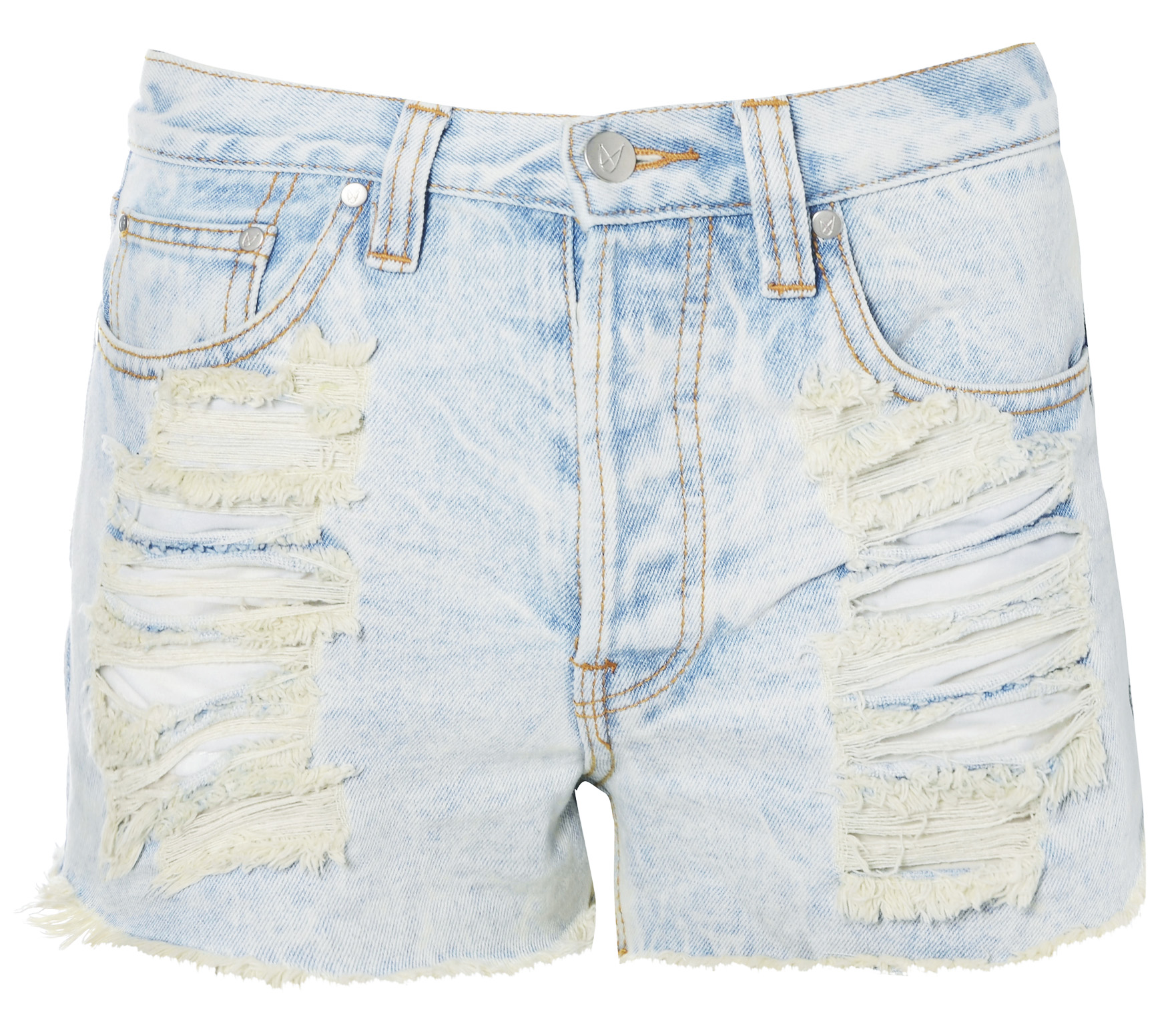 NEW WOMENS MINK PINK BLUE ACID BLEACH WASH DISTRESSED DENIM LADIES SHORTS Enlarged Preview