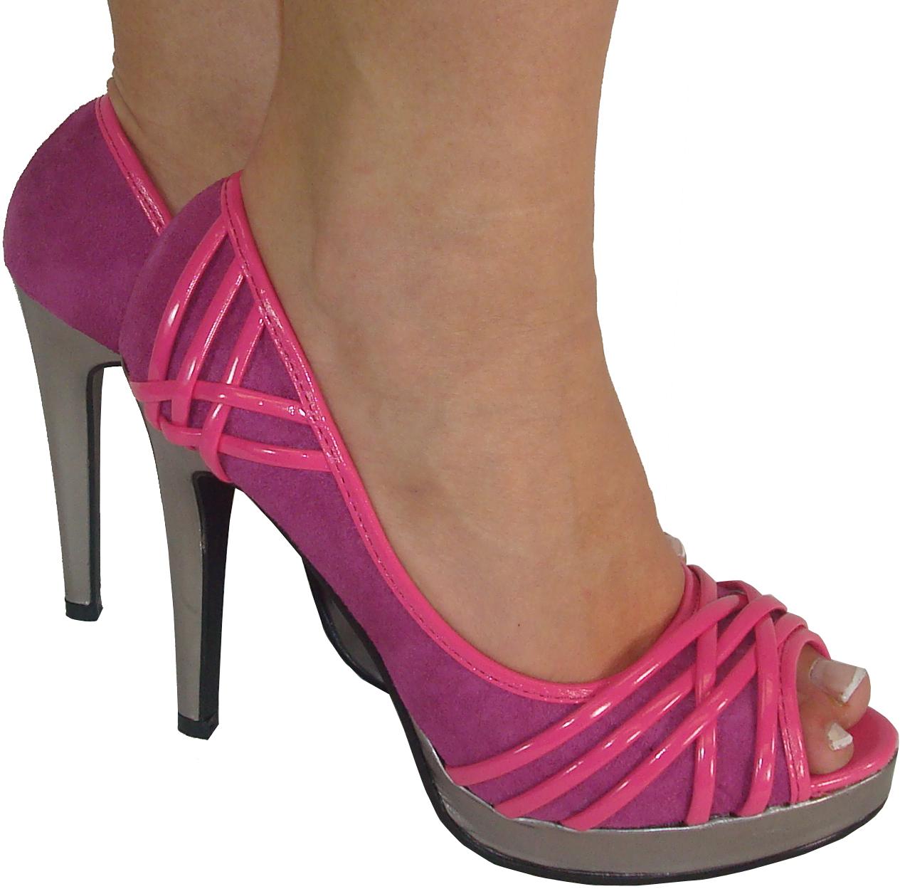 Details about new womens pink peep platform ladies heels shoes sze 8