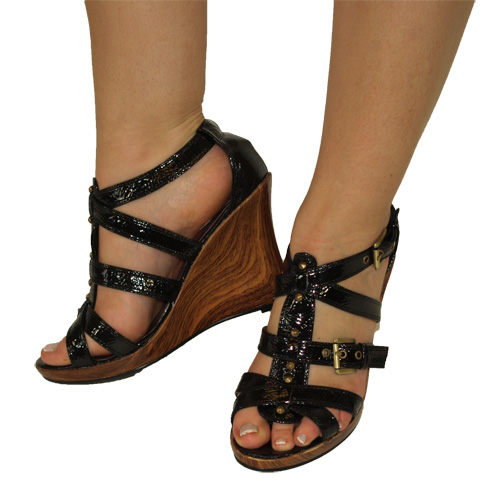 Details about NEW LADIES BLACK GLADIATOR WEDGE WOMENS SHOES SIZE 6 39