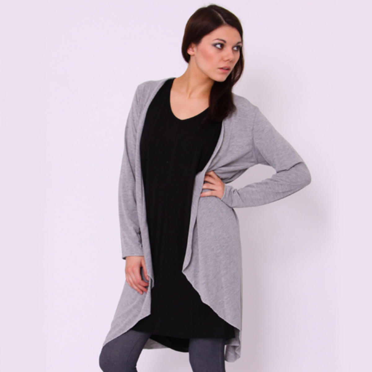Waterfall Drape Cardigan Grey Preview