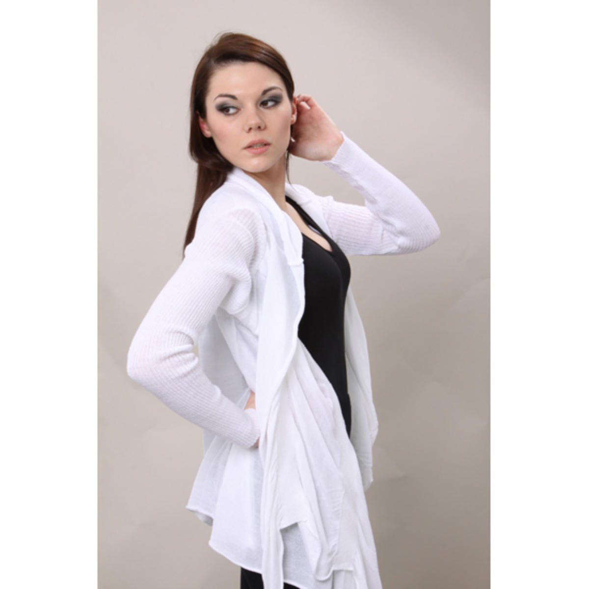 Drape Detail Cardigan White Preview