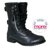 Black Buckle Military Boot