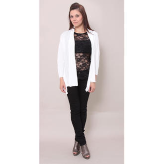 View Item White Drape Rib Cardigan