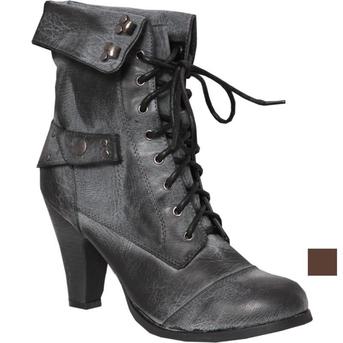 Lace Up Heeled Fold Over Worker Boot Preview