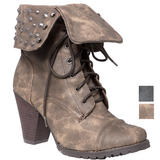 Turn Over Stud Heel Boot