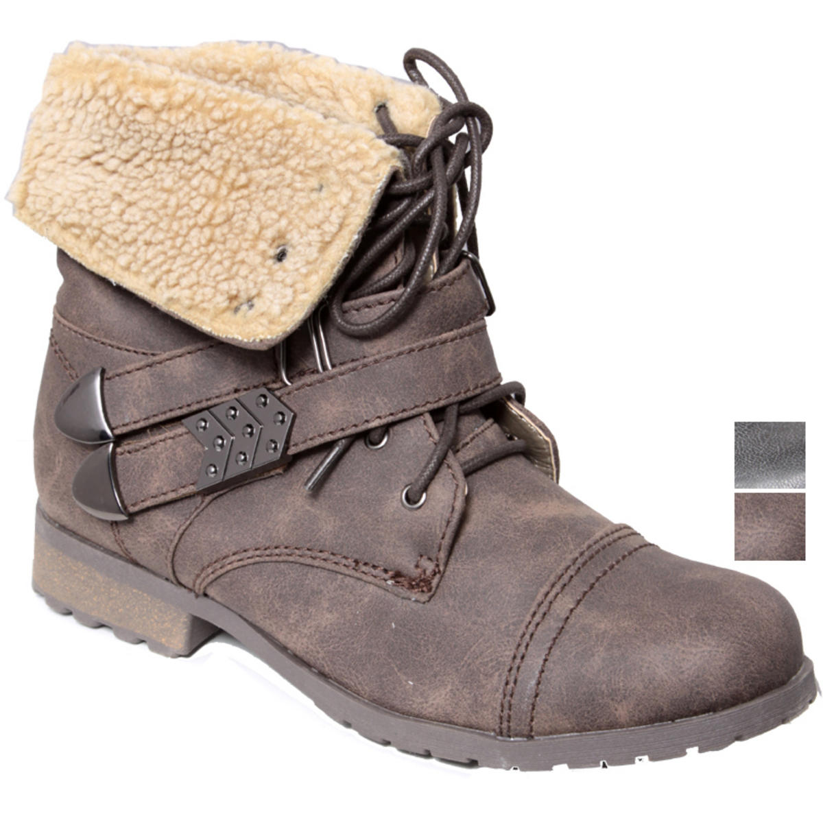 Faux Sheepskin Double Strap Ankle Worker Boot Preview