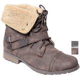 Faux Sheepskin Double Strap Ankle Worker Boot