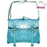 Blue Crocodile Skin Satchel