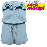 Strapless Ruffle Denim Playsuit