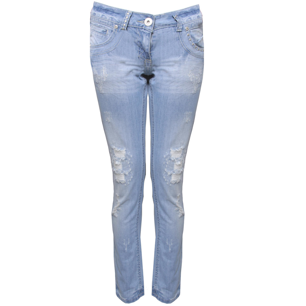 SIZE 6 ONLY Pale Blue Distressed Straight Leg Jean Preview