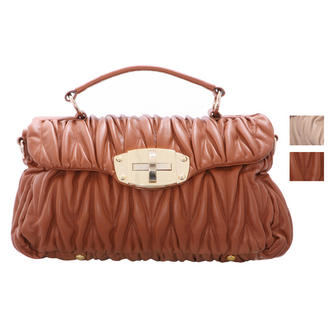 View Item Textured PU Leather Satchel