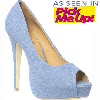View Item SIZE 8 ONLY Denim Peeptoe Platform Shoe