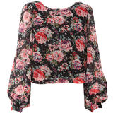 Rose Print Chiffon Blouse