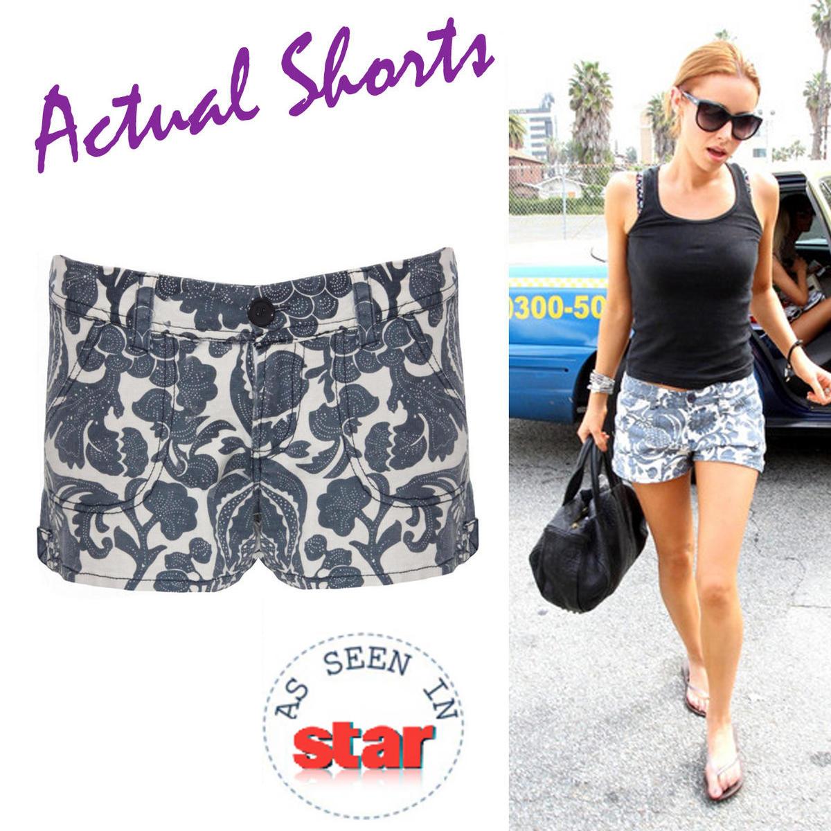 Item Details - Cream Floral Printed Denim Shorts